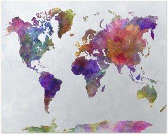 Plakát Mapa světa v watercolorpurple a modré