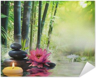 Plakát Masáž v přírodě - lilie, kameny, bambus - zen koncepce