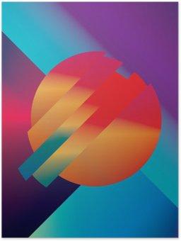 Plakát Materiál design abstraktní vektor pozadí s geometrickými tvary izometrické. Sugestivní, jasný, lesklý barevný symbol pro tapetu.