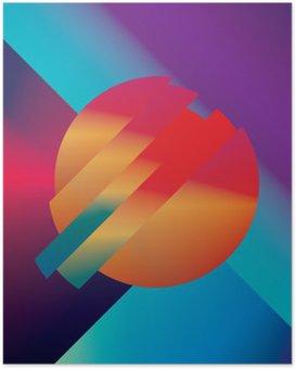 Plakat Materiał wzór abstrakcyjne tło wektor z geometrycznych kształtów izometrycznych. Żywe, jasne, błyszczące kolorowe symbolem tapety.