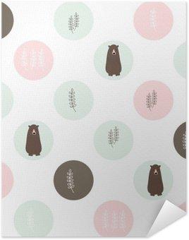 Plakát Medvěd a lesní bezproblémové pozadí. vektorové design ilustrace.