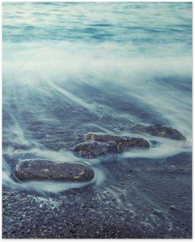 Plakát Minimalistický Seascape. Pobřežní Sunrise.