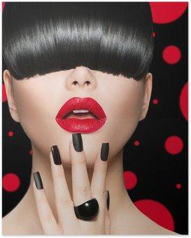 Plakát Model dívka portrét s módní účes, make-up a manikúra