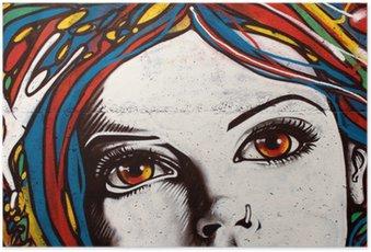 Plakát Moderní styl graffiti na cihlové zdi.