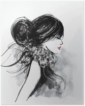 Plakát Módní žena model s šátkem