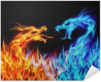 Plakát Modrá a červená oheň Dragons