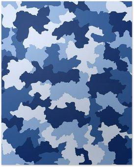 Plakát Modrá maskovací vzor bezešvé