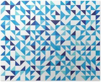 Plakát Modré geometrické pozadí s trojúhelníky. Bezešvé vzor. Vektorové ilustrace EPS 10