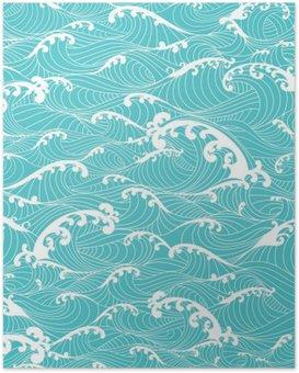 Plakát Mořské vlny, pruhy vzor bezešvé ručně malovaná asijském stylu