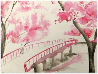 Plakát Most mezi třešňových květů, čínské stylu krajiny