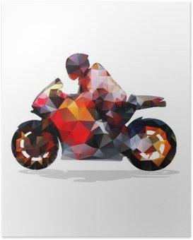 Plakát Motorky, abstraktní geometrické vektor siluetu. motocykl jízda