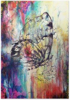 Plakát Motýl s květinou. Originální ručně draw. Počítač koláže a abstraktní pozadí.