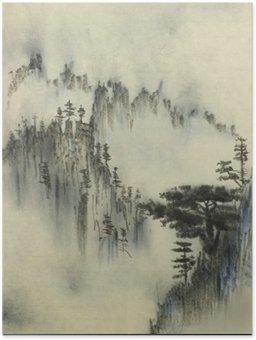 Plakát Mountain borovice a mlha