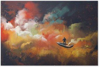 Plakát Muž na lodi ve vesmíru s pestré oblačnosti, ilustrační