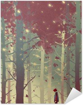 Plakát Muž stojící v krásném lese s padající listí, ilustrace malba