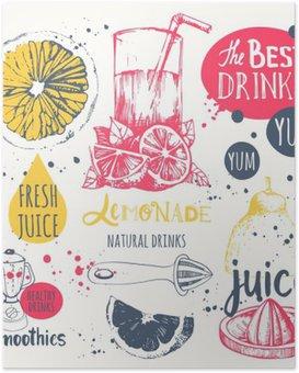 Plakát Nápoje v náčrtu stylu. Užitečné přírodní šťávy a koktejly.