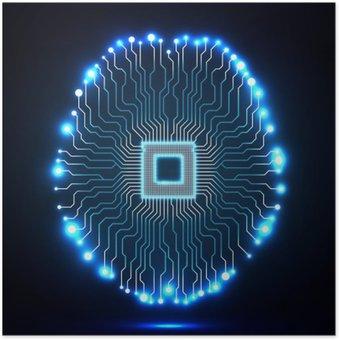 Plakát Neon mozku. Procesor. Obvodová deska. Abstraktní technologické zázemí. Vektorové ilustrace. ePS 10