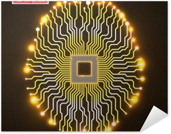 Plakát Neon mozku. Procesor. Obvodová deska. Abstraktní technologické zázemí