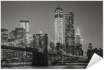 Plakát New York v noci. Brooklynský most, Dolní Manhattan - Black