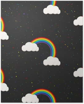 Plakát Noční obloha fantazie kluk bezešvé vzor. Hvězda konfety, mraky a duha chlapec šedá tapeta a design tkaniny.