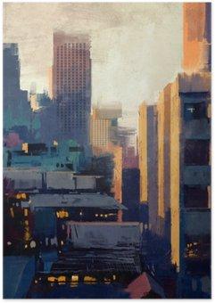 Plakát Obraz mrakodrapy při západu slunce
