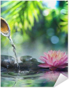 Plakat Ogród zen z czarnych kamieni i różowym lilii wodnej