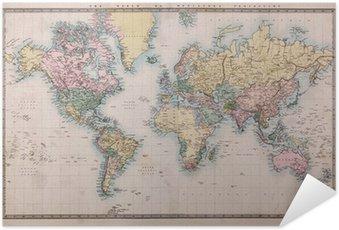 Plakát Old Antique Mapa světa na promítání Mercators