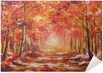 Plakát Olejomalba krajina - barevný podzim les