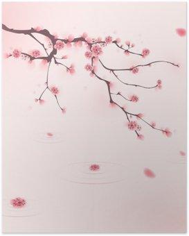 Plakát Orientální styl malby, třešňové květy na jaře