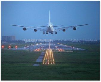 Plakát Osobní letadlo vyletí nad vzletové dráhy z letiště