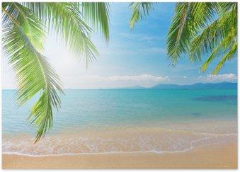 Plakat Palmy i tropikalna plaża