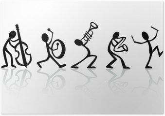 Plakát Pásové hudebníci přehrávání hudby, vector ideální pro T-košile