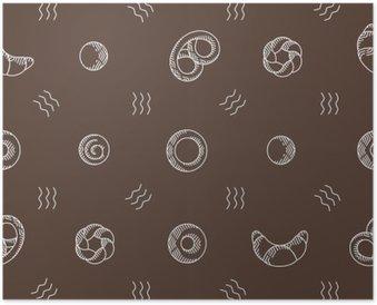 Plakát Pekárenské výrobky bezešvé vzor. vektorové ilustrace