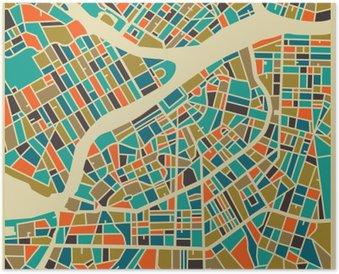 Plakát Petrohrad vektorové mapy. Barevné vintage design základna pro cestovní karty, reklama, dárek nebo plakátu.