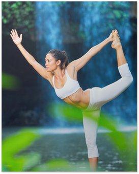 Plakat Piękna kobieta uprawiania jogi poza charakter
