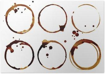 Plakat Pierścienie filiżanka kawy na białym tle