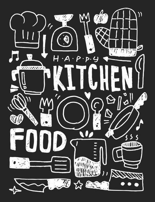 Plakát Pixerstick Kuchyň prvky čmáranice kreslené ručně řádek ikon, eps10 - Grafika