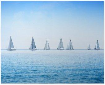 Plakát Plachetnice jachta regata závod na moře nebo oceánu vody