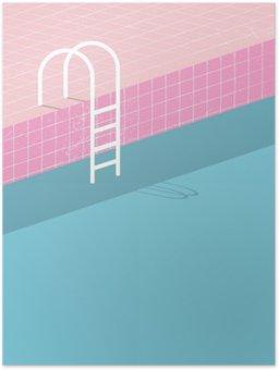 Plakát Plavecký bazén ve stylu vintage. Staré retro růžové dlaždice a bílá žebřík. Letní plakát pozadí šablony.