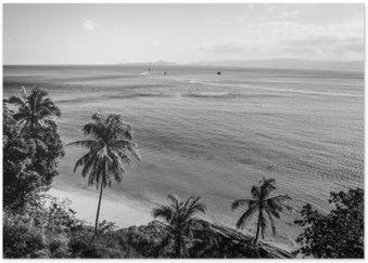 Plakát Pobřeží tropickém ostrově. Černobílá fotografie.