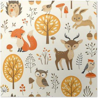 Plakát Podzimní les bezešvé vzor s roztomilými zvířaty