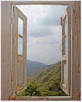 Plakát Pohled ze staré bílé okno