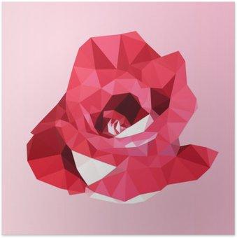 Plakát Polygonální červená růže. poly nízký geometrický trojúhelník květina vektor