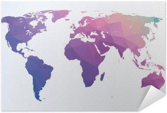 Plakát Polygonální mapa světa
