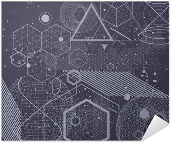 Plakát Posvátná geometrie symboly a prvky pozadí. Cosmic, vesmír, bing bang, alchymie, náboženství, filozofie, astrologie, věda, fyzika, chemie a duchovnost témata.