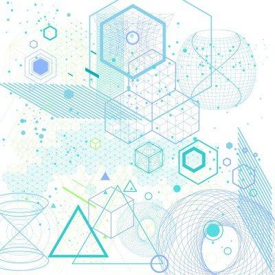 Plakát Posvátná geometrie symboly a prvky pozadí