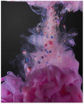 Plakát Purpurový inkoust pod vodou, na černém pozadí.
