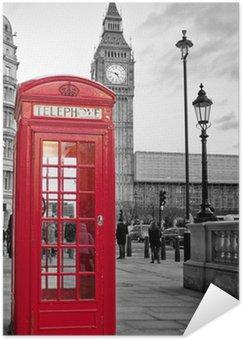 Plakát Red telefonní budka v Londýně s Big Ben v černé a bílé