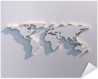 Plakát Relief mapa světa na zeď