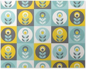 Plakát Retro květinovým vzorem, geometrické bezešvé květiny